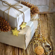 White gift boxes and christmas decorations — Stock Photo