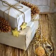White gift boxes and christmas decorations — Стоковая фотография