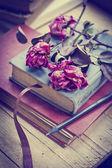 Libros y rosas secas — Foto de Stock