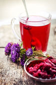 Raspberry hot drink , jam and flowers — Foto Stock