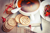 Cookies, books and tea — Stock Photo