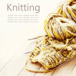 Knitting needles and yarn — Stock fotografie