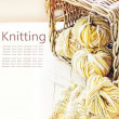 Knitting needles and yarn — Stock Photo