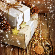 Gifts boxes and christmas decorations — Stock Photo