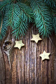Christmas pine branches and stars — Foto Stock