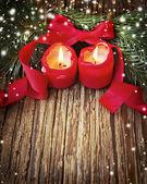 Duas velas de natal — Fotografia Stock