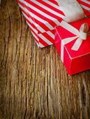 Two red gift boxes — Stok fotoğraf