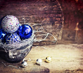 Blue Christmas balls — Fotografia Stock