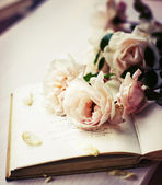 Roses on old book — Stockfoto