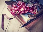 Rosas secas en viejos libros — Foto de Stock