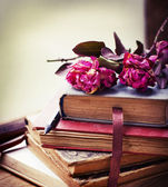 Vintage books and roses — Stock Photo