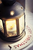 Christmas burning lantern — Stock Photo