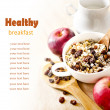 Bowl of oat flake with raisins, milk and apples — Stock Photo
