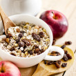 Stock Photo: Bowl of oat flake with raisins, milk and apples