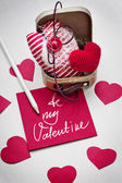 Valentine's hearts, paper and pencil — Stock Photo