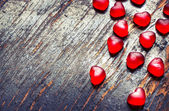 Red heart shaped candies — ストック写真