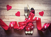 Valentines day table setting — Stock Photo