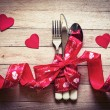 Valentine's day table setting — Stock Photo
