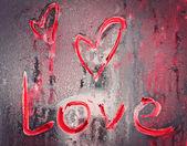 Kärlek tecken målade på glas — Stockfoto