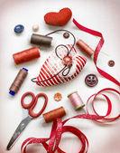 Valentine's day needlework background — Stock Photo