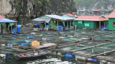 Floating fishing village — Video Stock
