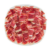 Dry-cured ham slices — Stock Photo