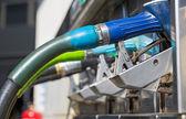 Blue gas pump nozzles — Stock Photo