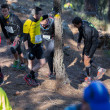 Постер, плакат: Hard marathon mountain race resting
