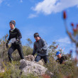 Постер, плакат: Hard marathon mountain race climbing