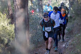 Hard marathon mountain race, group climbing — Stock Photo