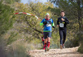 Hard marathon mountain race, climbing — Stock Photo