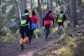 Hard marathon mountain race, climbing — Stock Photo