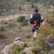 Постер, плакат: Hard marathon mountain race descent
