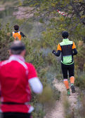 Tvrdá horském maratonu, sestup — Stock fotografie
