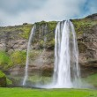 Wide view of Seljalandsfoss, the waterfall in southern Iceland — Stock Photo