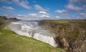 Waterfall Gullfoss and rainbow, Iceland — Stock fotografie