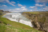 Waterfall Gullfoss and rainbow, Iceland — Stockfoto