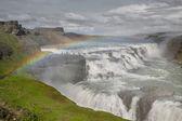 Waterfall Gullfoss and rainbow, Iceland — Stock Photo