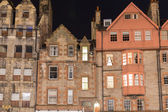 Front view of vintage facades at night in Edinburgh — Stock Photo