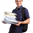 Stock Photo: Young adult happy student carrying books