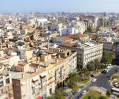 Aerial view of Valencia with tilt shift effect — Stock Photo