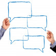 Drawing speech bubbles — Stock Photo