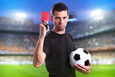 Referee with red card — Stock Photo