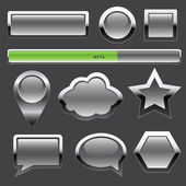 Gray metal buttons and elements of interface — Stock Vector