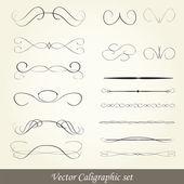 Vector set: calligraphic design elements — Stock Vector