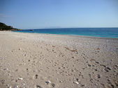 Livadi beach off season, Himara village, Albanian riviera — Foto Stock