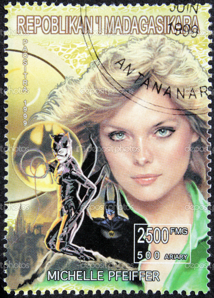 MADAGASCAR - CIRCA 1999. A postage stamp printed by Madagascar shows image portrait of famous American actress Michelle Pfeiffer, circa 1999. — Stock Photo #12485547