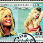 Постер, плакат: Brigitte Bardot Congo Stamp
