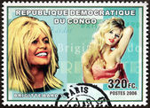 Brigitte Bardot Congo Stamp — Stock Photo