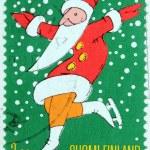 Santa on Skates Stamp — Stock Photo